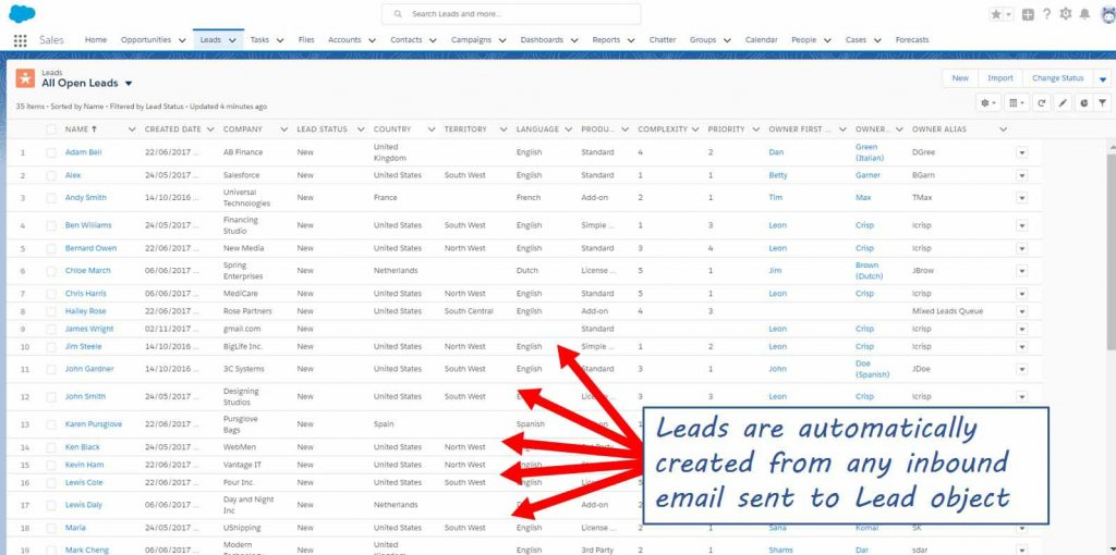 Automatically create leads in Salesforce